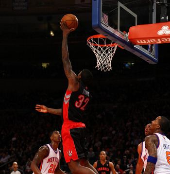Ed Davis tries to complete a crazy dunk in Toronto's March 20 game against the New York Knicks.