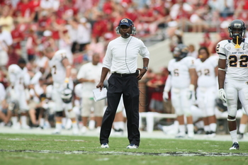 TUSCALOOSA, AL - SEPTEMBER 3: Head coach Darrell Hazell of the Kent State Golden Flashes during the game with the Alabama Crimson Tide on September 3, 2011 at Bryant Denny Stadium in Tuscaloosa, Alabama.  Alabama defeated Kent State 48-7.  (Photo by Greg