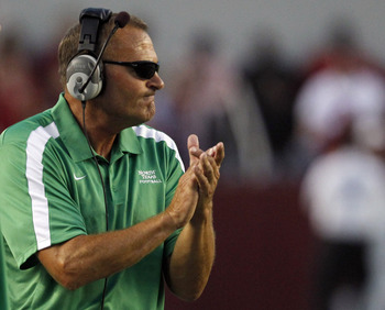 TUSCALOOSA, AL - SEPTEMBER 17:  Coach Dan McCarney of the North Texas Mean Green reacts to a play in their game against the Alabama Crimson Tide on September 17, 2011 at Bryant-Denny Stadium in Tuscaloosa, Alabama. (Photo by Butch Dill/Getty Images)