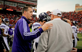 LINCOLN, NE - NOVEMBER 05:  Coach Pat Fitzgerald of the Northwestern Wildcats shakes the hand of Nebraska Cornhuskers head coach Bo Pelini after their game at Memorial Stadium November 5, 2011 in Lincoln, Nebraska.  Northwestern beat Nebraska 28-25. (Phot