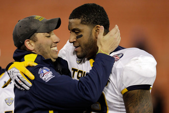 WASHINGTON, DC - DECEMBER 28: Jerome Jones #88 of the Toledo Rockets and head coach Matt Campbell celebrate after the Rockets defeated the Air Force Falcons 42-41 to win the Military Bowl at RFK Stadium on December 28, 2011 in Washington, DC.  (Photo by R