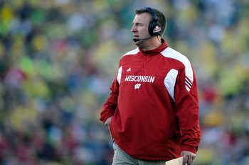 PASADENA, CA - JANUARY 02:  Head coach Bret Bielema of the Wisconsin Badgers looks on as the Badgers take on the Oregon Ducks at the 98th Rose Bowl Game on January 2, 2012 in Pasadena, California.  (Photo by Kevork Djansezian/Getty Images)