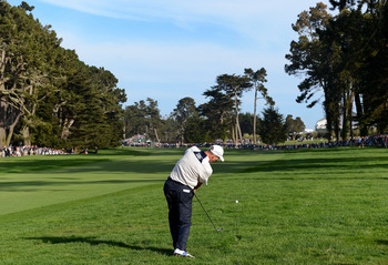SAN FRANCISCO, CA - JUNE 16: Jim Furyk of the United States hits an approach shot on the 16th hole during the third round of the 112th U.S. Open at The Olympic Club on June 16, 2012 in San Francisco, California.  (Photo by Harry How/Getty Images)