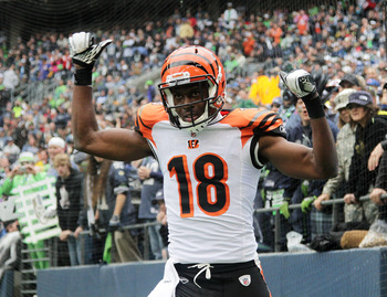SEATTLE - OCTOBER 30:  Wide receiver A.J. Green #18 of the Cincinnati Bengals celebrates after scoring a touchdown against the Seattle Seahawks at CenturyLink Field on October 30, 2011 in Seattle, Washington. (Photo by Otto Greule Jr/Getty Images)