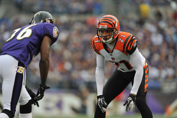 BALTIMORE - NOVEMBER 20:  Brandon Ghee #21 of the Cincinnati Bengals defends against the Baltimore Ravens at M&T Bank Stadium on November 20, 2011 in Baltimore, Maryland. The Ravens defeated the Bengals 31-24. (Photo by Larry French/Getty Images)