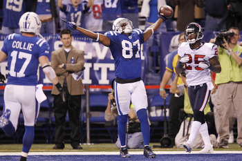 Reggie Wayne celebrates his game-winning touchdown catch in Indianapolis' 20-16 win over Houston on December 22.