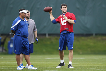 Andrew Luck throws a pass in Colts' OTA's.