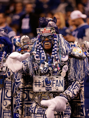 A decked-out Colts fan roots for the Colts to beat the Jets in the playoffs.