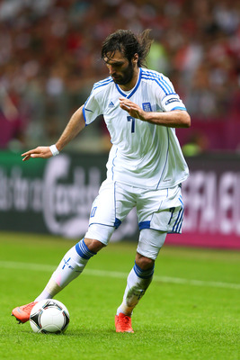 WARSAW, POLAND - JUNE 16:   Giorgos Samaras of Greece in action during the UEFA EURO 2012 group A match between Greece and Russia at The National Stadium on June 16, 2012 in Warsaw, Poland.  (Photo by Michael Steele/Getty Images)