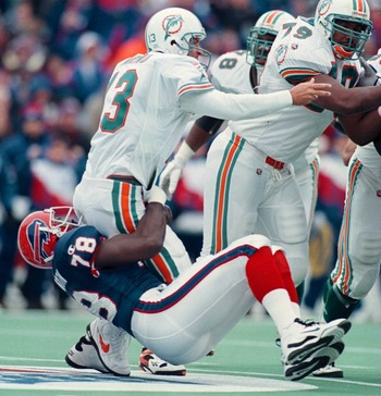 Bruce Smith won the Defensive Player of the Year award twice.