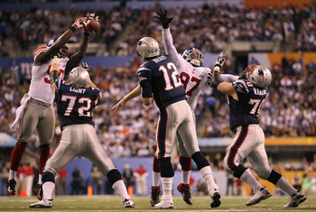 Jason Pierre-Paul blocks Tom Brady pass in Super Bowl XLVI.
