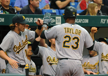 Taylor has made sporadic appearances in A's lineups the past few years.