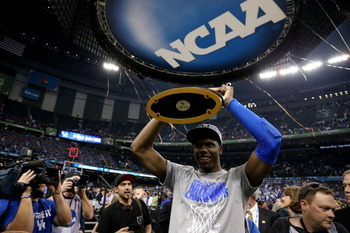 NEW ORLEANS, LA - APRIL 02:  Terrence Jones #3 of the Kentucky Wildcats holds the trophy as he walks off the court after defeating the Kansas Jayhawks 67-59 in the National Championship Game of the 2012 NCAA Division I Men's Basketball Tournament at the M