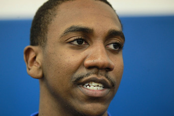 LEXINGTON, KY - APRIL 17:  Marquis Teague of the Kentucky Wildcats talks with the media during the news conference in which he announced he will enter the NBA draft at Joe Craft Center on April 17, 2012 in Lexington, Kentucky.  (Photo by Andy Lyons/Getty 