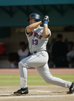 MIAMI - JUNE 2:  Third baseman Edgardo Alfonzo #13 of the New York Mets at bat during the MLB game against the Florida Marlins at Pro Player Stadium in Miami, Florida on June 2, 2002.  The Marlins won 7-3.  (Photo by Eliot Schechter/Getty Images)