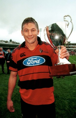30 May 1999:  Todd Blackadder of Canterbury holds the Super 12's trophy after the final of the Super 12's series between Canterbury Crusaders v Otago Highlanders at Cairsbrook stadium ,Dunedin New Zealand.Canterbury won the match 24-19. Mandatory Credit:A