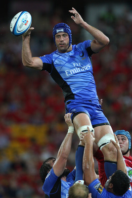 BRISBANE, AUSTRALIA - MARCH 03:  Nathan Sharpe of the Force passes from the lineout during the round two Super Rugby match between the Reds and the Western Force at Suncorp Stadium on March 3, 2012 in Brisbane, Australia.  (Photo by Chris Hyde/Getty Image