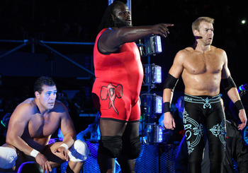DURBAN, SOUTH AFRICA - JULY 08:  Alberto Del Rio, Mark Henry and  Christian during the WWE Smackdown Live Tour at Westridge Park Tennis Stadium on July 08, 2011 in Durban, South Africa.  (Photo by Steve Haag/Gallo Images/Getty Images)