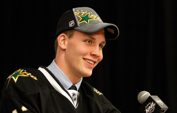 PITTSBURGH, PA - JUNE 22: Radek Faksa, 13th overall pick by the Dallas Stars, speaks to media during Round One of the 2012 NHL Entry Draft at Consol Energy Center on June 22, 2012 in Pittsburgh, Pennsylvania.  (Photo by Justin K. Aller/Getty Images)