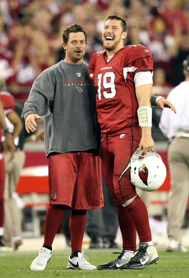 GLENDALE, AZ - JANUARY 01:  Quarterbacks Kevin Kolb #4 and John Skelton #19 of the Arizona Cardinals talk during the NFL game against the Seattle Seahawks at the University of Phoenix Stadium on January 1, 2012 in Glendale, Arizona.  The Cardinals defeate