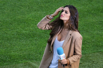 GDANSK, POLAND - JUNE 10:      Presenter Sara Carbonero, fiancee of Iker Casillas looks on ahead of the UEFA EURO 2012 group C match between Spain and Italy at The Municipal Stadium on June 10, 2012 in Gdansk, Poland.  (Photo by Alex Grimm/Getty Images)