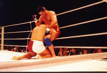 Cikatic elbows Kerr in the back of the neck / fcfighter.com