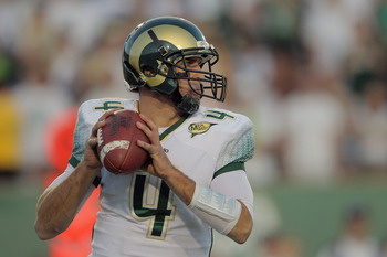 FORT COLLINS, CO - OCTOBER 15:  Quarterback Pete Thomas #4 of the Colorado State Rams delivers a pass against the Boise State Broncos at Sonny Lubick Field at Hughes Stadium on October 15, 2011 in Fort Collins, Colorado. The Broncos defeated the Rams 63-1