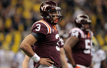 NEW ORLEANS, LA - JANUARY 03:  Logan Thomas #3 of the Virginia Tech Hokies looks on against the Michigan Wolverines during the Allstate Sugar Bowl at Mercedes-Benz Superdome on January 3, 2012 in New Orleans, Louisiana.  (Photo by Chris Graythen/Getty Ima
