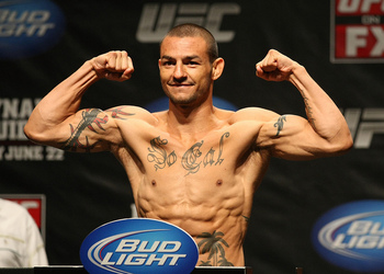 ATLANTIC CITY, NJ - JUNE 21: Cub Swanson flexes after making weight during the UFC on FX official weigh in at Revel Casino on June 21, 2012 in Atlantic City, New Jersey. (Photo by Nick Laham/Zuffa LLC/Zuffa LLC via Getty Images)