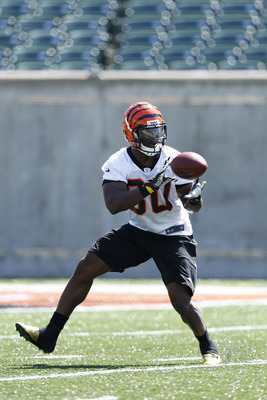 CINCINNATI, OH - MAY 11: Orson Charles #80 of the Cincinnati Bengals works out during a rookie minicamp at Paul Brown Stadium on May 11, 2012 in Cincinnati, Ohio. (Photo by Joe Robbins/Getty Images)