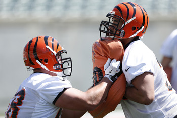 CINCINNATI, OH - MAY 11: Kevin Zeitler #68 of the Cincinnati Bengals works out during a rookie minicamp at Paul Brown Stadium on May 11, 2012 in Cincinnati, Ohio. (Photo by Joe Robbins/Getty Images)
