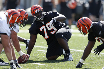 CINCINNATI, OH - MAY 11: Brandon Thompson #79 of the Cincinnati Bengals works out during a rookie minicamp at Paul Brown Stadium on May 11, 2012 in Cincinnati, Ohio. (Photo by Joe Robbins/Getty Images)