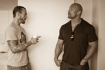 CM Punk &amp; The Rock (Photo courtesy of https://twitter.com/therock)