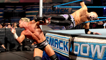 Christian boots Ziggler (Photo courtesy of WWE.com)
