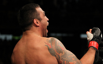 BELO HORIZONTE, BRAZIL - JUNE 23: Fabricio Werdum reacts after defeating Mike Russow during their UFC 147 heavyweight bout at Estadio Jornalista Felipe Drummond on June 23, 2012, in Belo Horizonte, Brazil. (Photo by Josh Hedges/Zuffa LLC/Zuffa LLC via Getty Images)