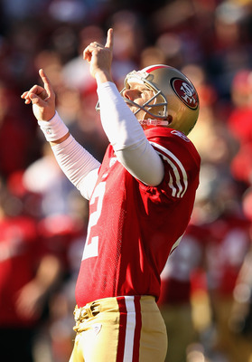 SAN FRANCISCO, CA - JANUARY 14:   David Akers #2 of the San Francisco 49ers celebrates after kicking a 25 yard field goal against the New Orleans Saints during the second quarter of the NFC Divisional playoff game at Candlestick Park on January 14, 2012 i