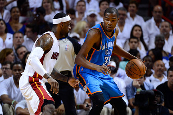 This is becoming a classic rivalry right before our eyes. Kevin Durant (right) backs down LeBron James.