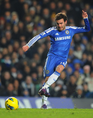 LONDON, ENGLAND - FEBRUARY 05:  Juan Mata of Chelsea in action during the Barclays Premier League match between Chelsea and Manchester United at Stamford Bridge on February 5, 2012 in London, England.  (Photo by Mike Hewitt/Getty Images)