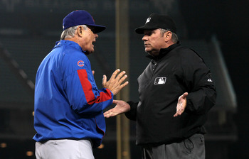 LOS ANGELES - JULY 8: Manager Lou Piniella of the Chicago Cubs argues with first base umpire Hunter Wendlestedt in the game with the Los Angeles Dodgers on July 8, 2010 at Dodger Stadium in Los Angeles, California.   The Dodgers won 3-2.  (Photo by Stephe
