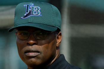 21 Feb 2002: Hal McRae, manager of the Tampa Bay Devil Rays watches his players run drills  at the Raymond A. Namioli Baseball Complex in St. Petersburg, Florida. DIGITAL IMAGE  Mandatory Credit: Rick Stewart/Getty Images