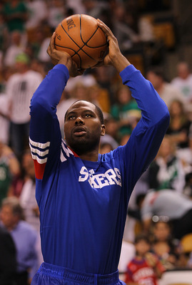 BOSTON, MA - MAY 26:  Elton Brand #42 of the Philadelphia 76ers shoots before a game with the Boston Celtics in Game Seven of the Eastern Conference Semifinals during the 2012 NBA Playoffs on May 26, 2012 at TD Garden in Boston, Massachusetts. NOTE TO USE
