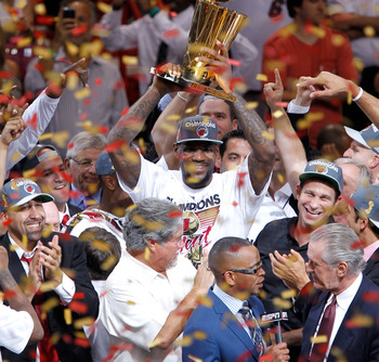 LeBron and the Heat celebrate their NBA Title.