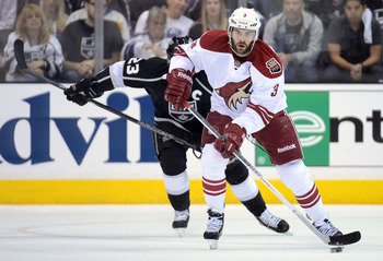 Phoenix's Keith Yandle skates up the ice.