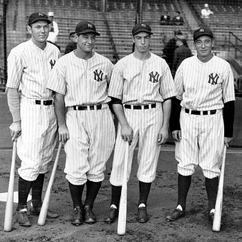 Tony Lazzeri (right) with Bill Dickey, Lou Gehrig and a stoic Joe Dimaggio. Source: http://newyork.yankees.mlb.com
