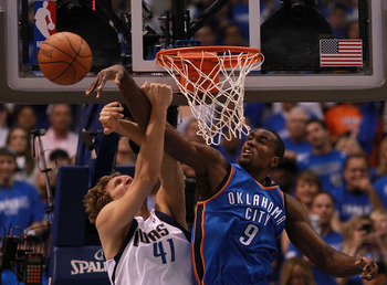 Thunder big man Serge Ibaka is one of the league's best shot blockers.