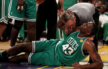 Perkins blew out his knee in Game 6 of the 2010 NBA Finals.