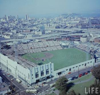 The first west coast game was played at Seals Stadium in San Francisco (Time-Life)