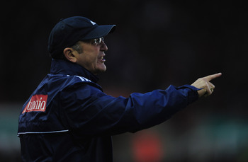 STOKE ON TRENT, ENGLAND - MAY 01:  Tony Pulis of Stoke City looks on during the Barclays Premier League match between Stoke City and Everton at Britannia Stadium on May 1, 2012 in Stoke on Trent, England.  (Photo by Jamie McDonald/Getty Images)