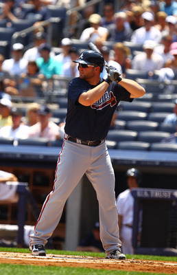 NEW YORK, NY - JUNE 20:  Brian McCann #16 of the Atlanta Braves  in action against the New York Yankees during their game on June 20, 2012 at Yankee Stadium in the Bronx borough of New York City.  (Photo by Al Bello/Getty Images)