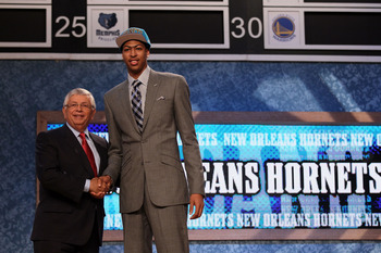 NEWARK, NJ - JUNE 28:  Anthony Davis (R) of the Kentucky Wildcats greets NBA Commissioner David Stern (L) after he was selected number one overall by the New Orleans Hornets during the first round of the 2012 NBA Draft at Prudential Center on June 28, 201